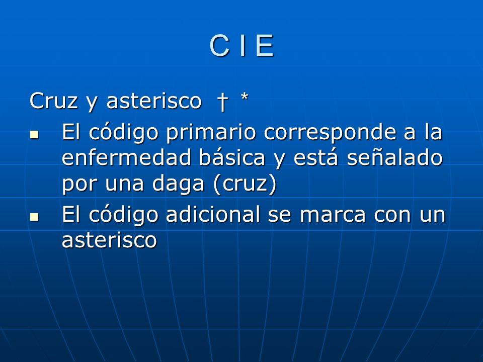 C I E Cruz y asterisco * El código primario corresponde a la enfermedad básica y está señalado por una daga (cruz) El código primario corresponde a la enfermedad básica y está señalado por una daga (cruz) El código adicional se marca con un asterisco El código adicional se marca con un asterisco