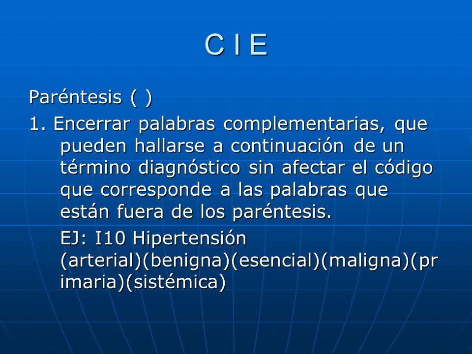 C I E Paréntesis ( ) 1.