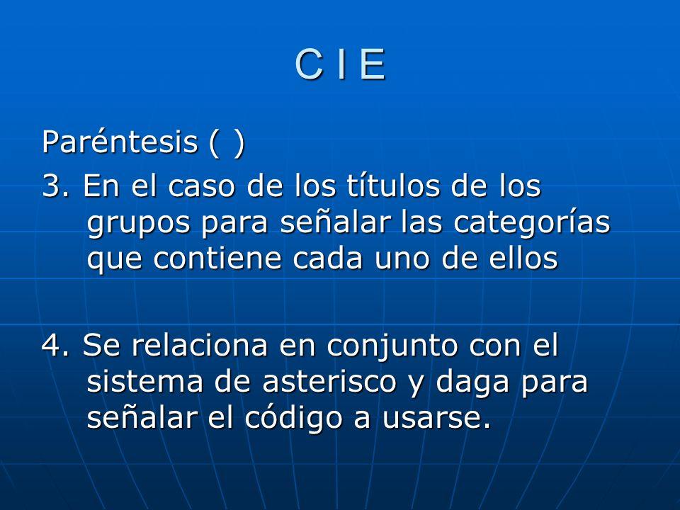 C I E Paréntesis ( ) 3.