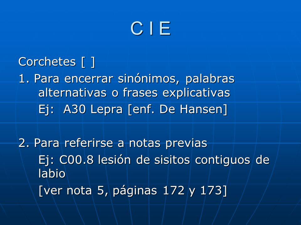 C I E Corchetes [ ] 1.