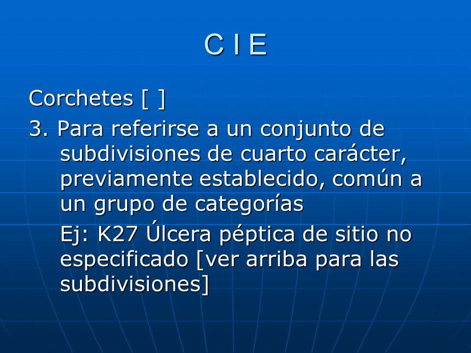 C I E Corchetes [ ] 3.