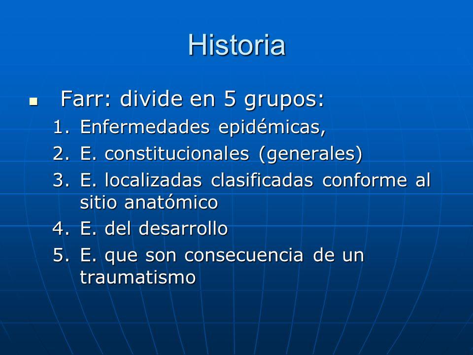 Historia Farr: divide en 5 grupos: Farr: divide en 5 grupos: 1.Enfermedades epidémicas, 2.E.