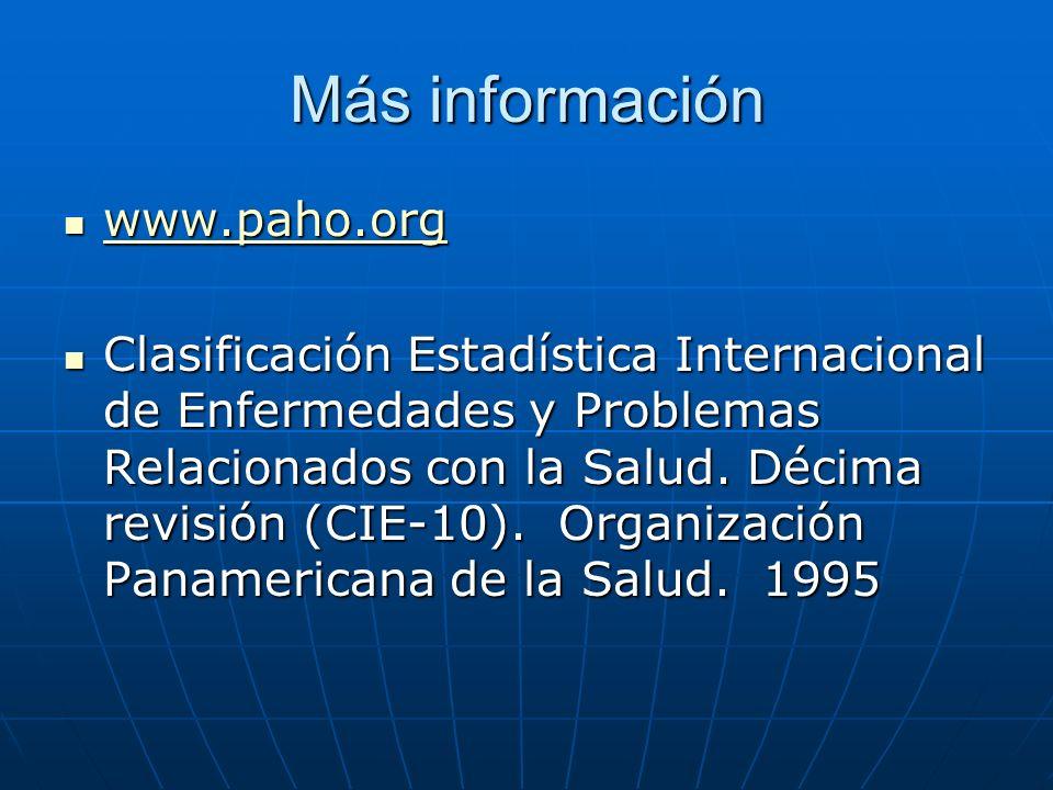 Más información www.paho.org www.paho.org www.paho.org Clasificación Estadística Internacional de Enfermedades y Problemas Relacionados con la Salud.