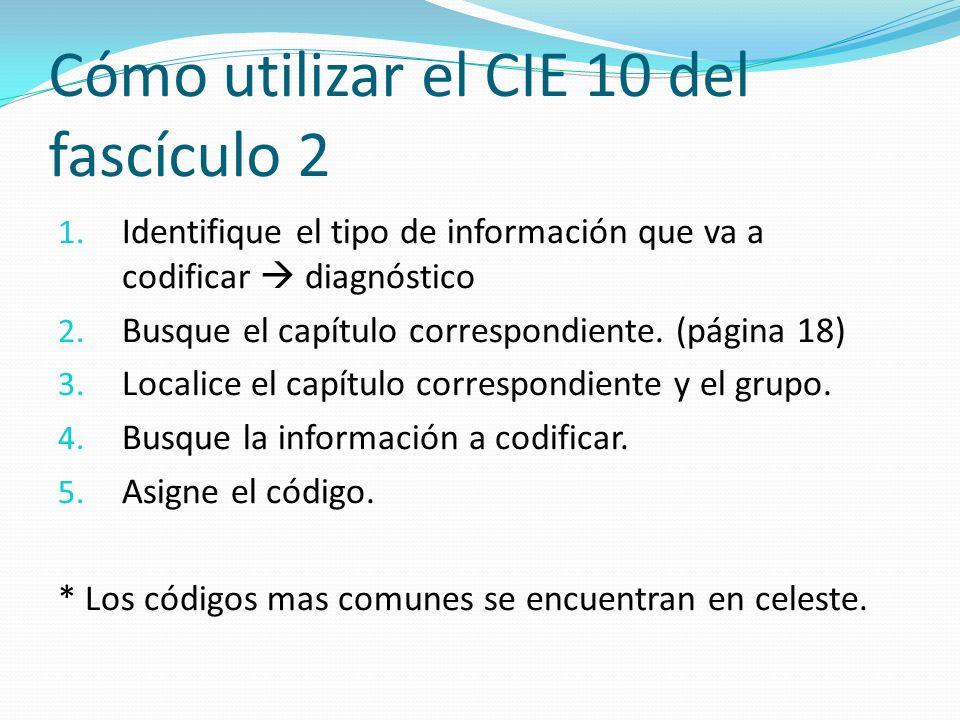 1.Identifique el tipo de información que va a codificar diagnóstico 2.