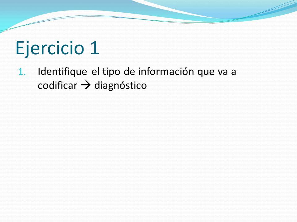 1. Identifique el tipo de información que va a codificar diagnóstico Ejercicio 1
