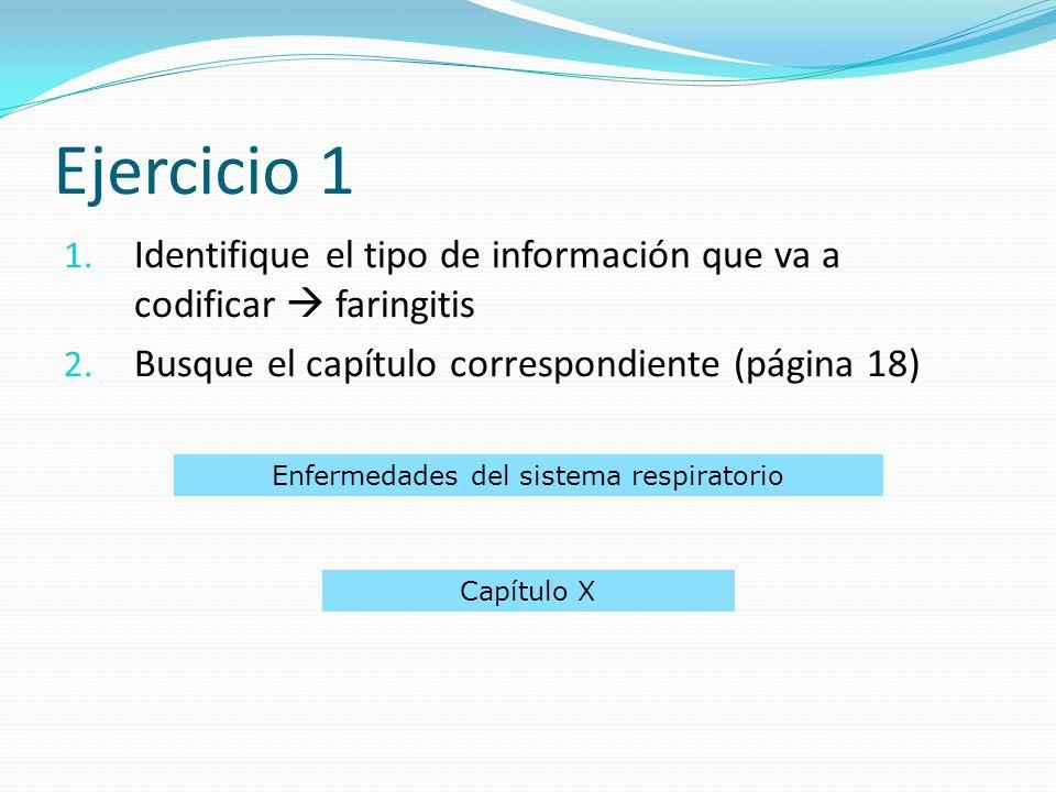 1.Identifique el tipo de información que va a codificar faringitis 2.