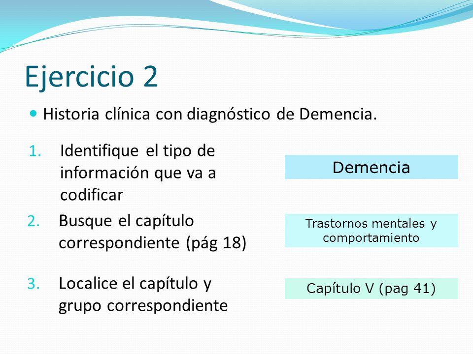 Ejercicio 2 Historia clínica con diagnóstico de Demencia.