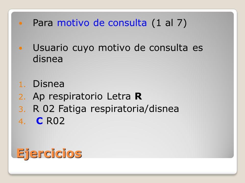 Ejercicios Para motivo de consulta (1 al 7) Usuario cuyo motivo de consulta es disnea 1.