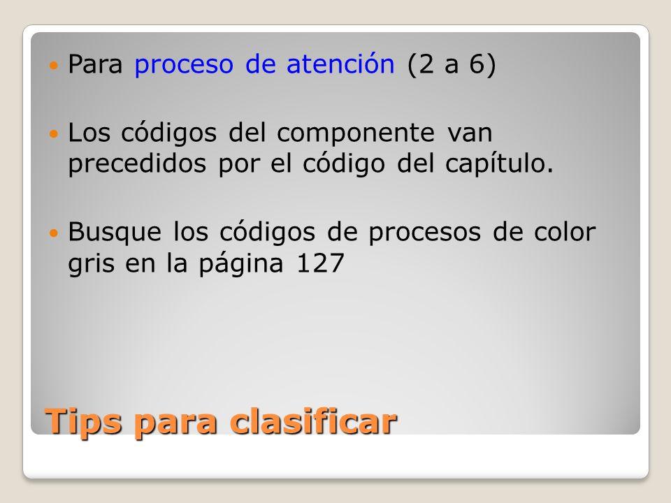 Tips para clasificar Para proceso de atención (2 a 6) Los códigos del componente van precedidos por el código del capítulo.