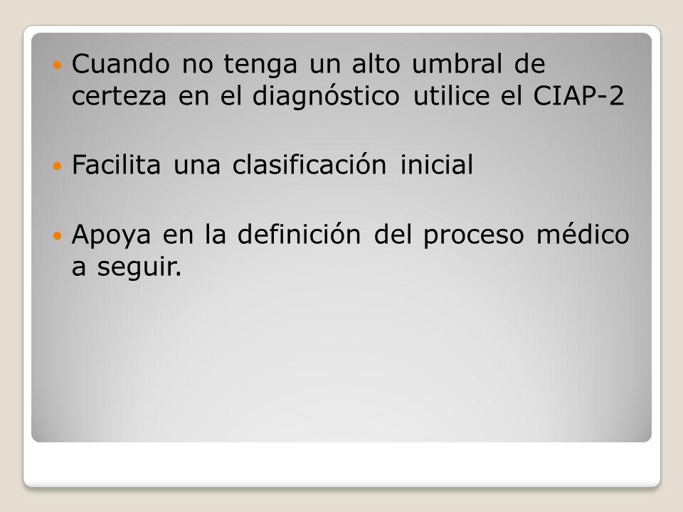 Cuando no tenga un alto umbral de certeza en el diagnóstico utilice el CIAP-2 Facilita una clasificación inicial Apoya en la definición del proceso médico a seguir.