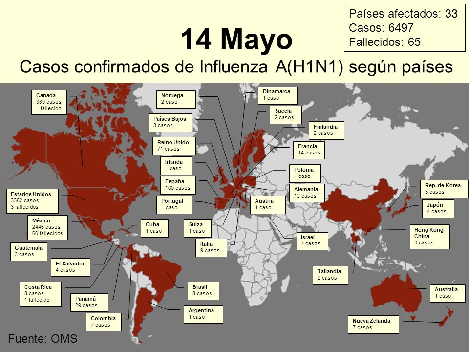 Fuente: OMS 14 Mayo Casos confirmados de Influenza A(H1N1) según países Estados Unidos 3352 casos 3 fallecidos México 2446 casos 60 fallecidos El Salv