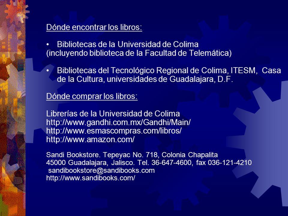 Dónde encontrar los libros: Bibliotecas de la Universidad de Colima (incluyendo biblioteca de la Facultad de Telemática) Bibliotecas del Tecnológico R