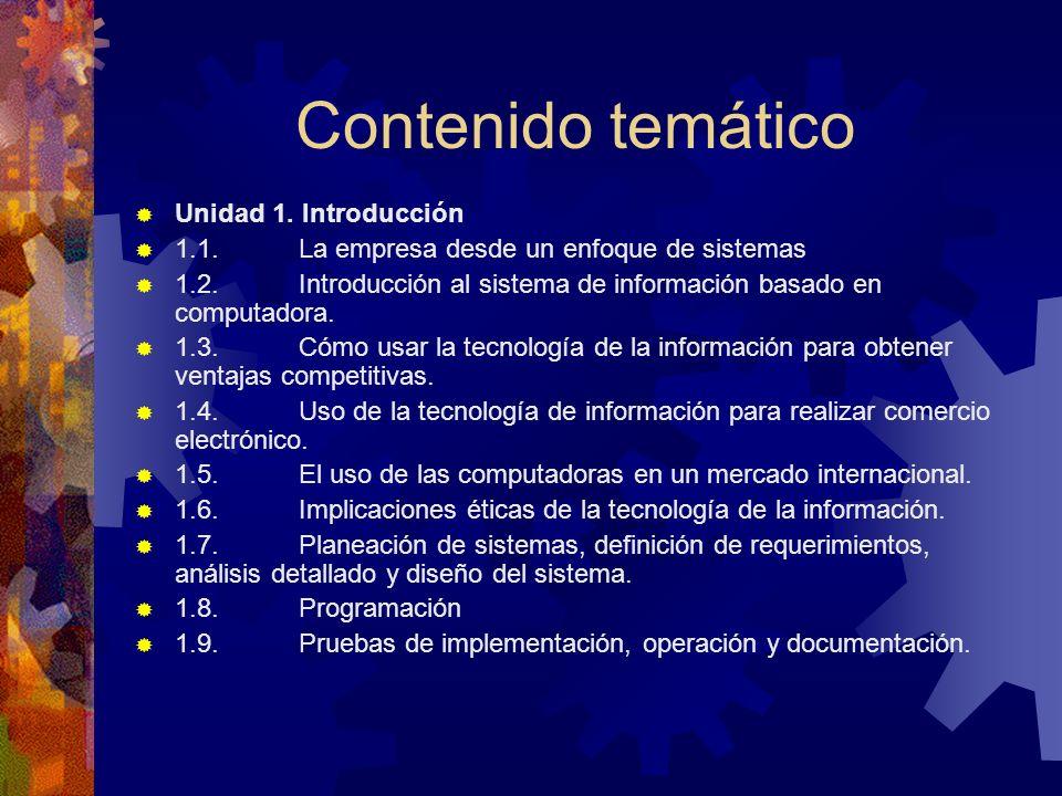 Contenido temático Unidad 1. Introducción 1.1. La empresa desde un enfoque de sistemas 1.2. Introducción al sistema de información basado en computado