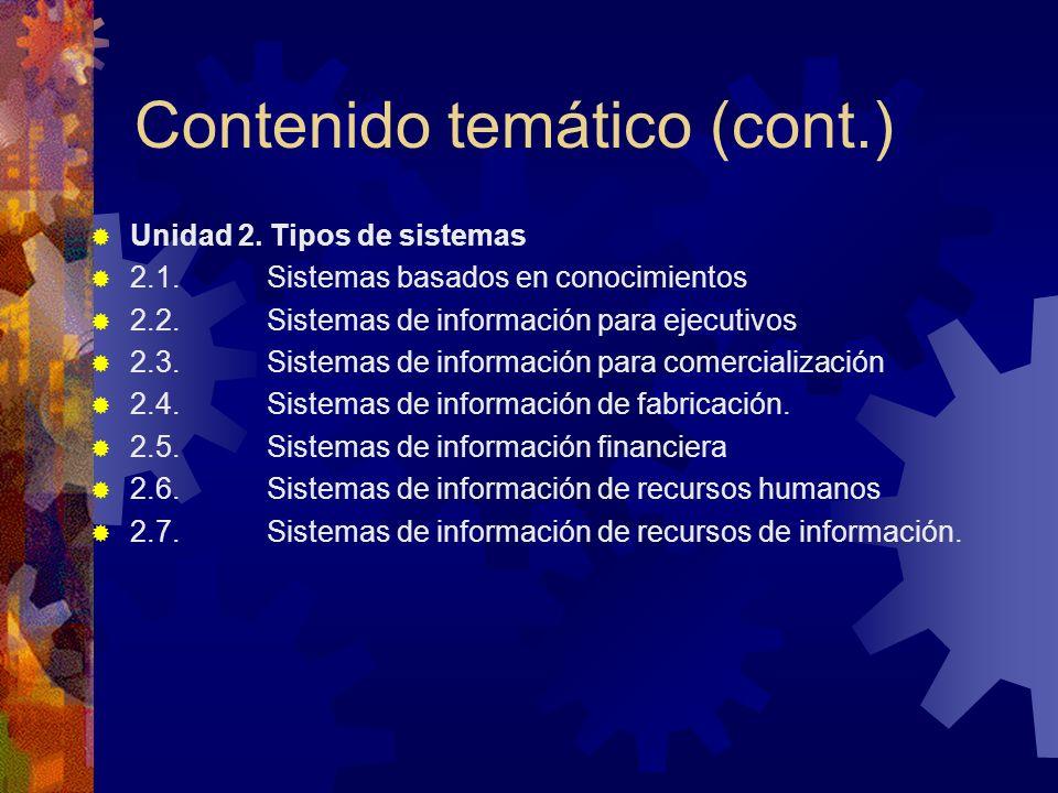 Contenido temático (cont.) Unidad 2. Tipos de sistemas 2.1. Sistemas basados en conocimientos 2.2. Sistemas de información para ejecutivos 2.3. Sistem
