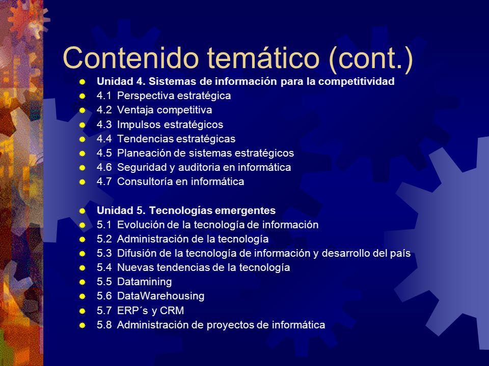 Contenido temático (cont.) Unidad 4. Sistemas de información para la competitividad 4.1 Perspectiva estratégica 4.2 Ventaja competitiva 4.3 Impulsos e