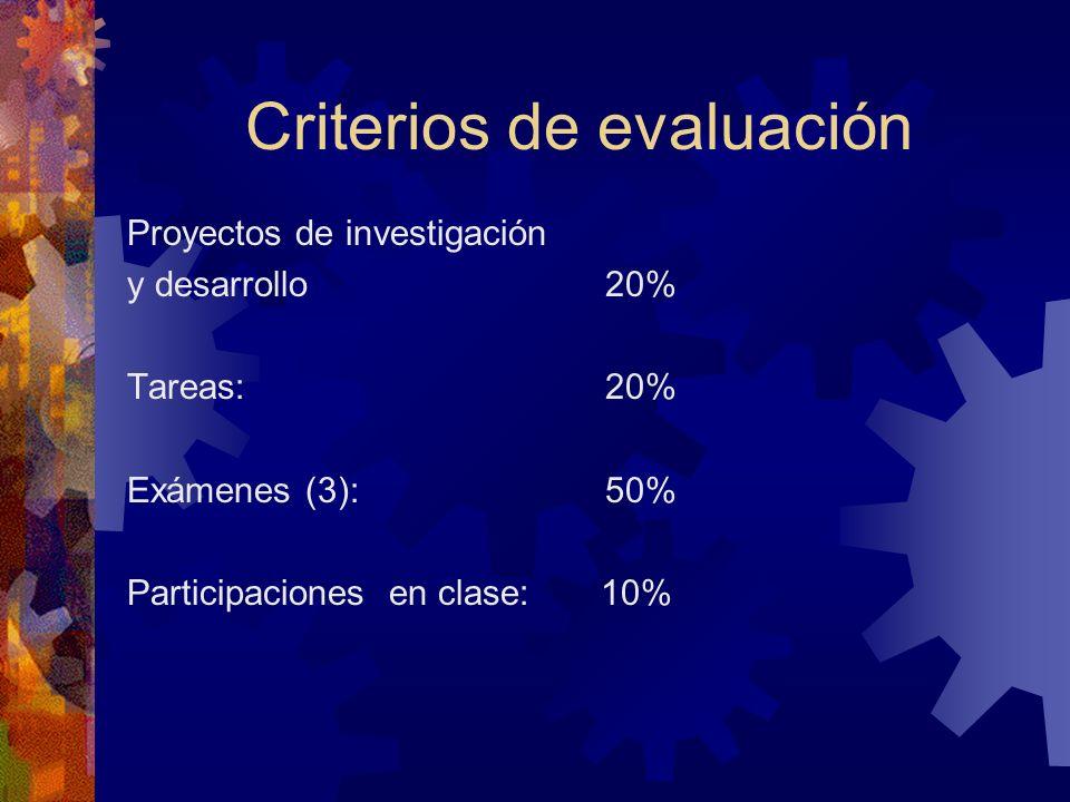 Criterios de evaluación Proyectos de investigación y desarrollo 20% Tareas: 20% Exámenes (3): 50% Participaciones en clase: 10%