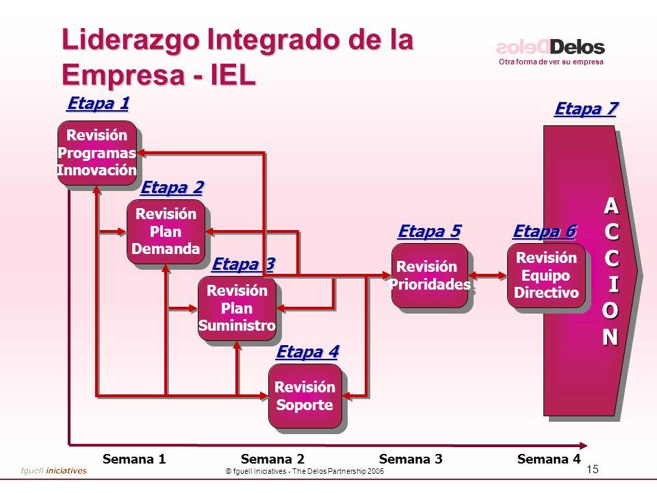 Otra forma de ver su empresa © fguell iniciatives - The Delos Partnership 2005 15 Liderazgo Integrado de la Empresa - IEL ACCIONACCION Semana 1Semana
