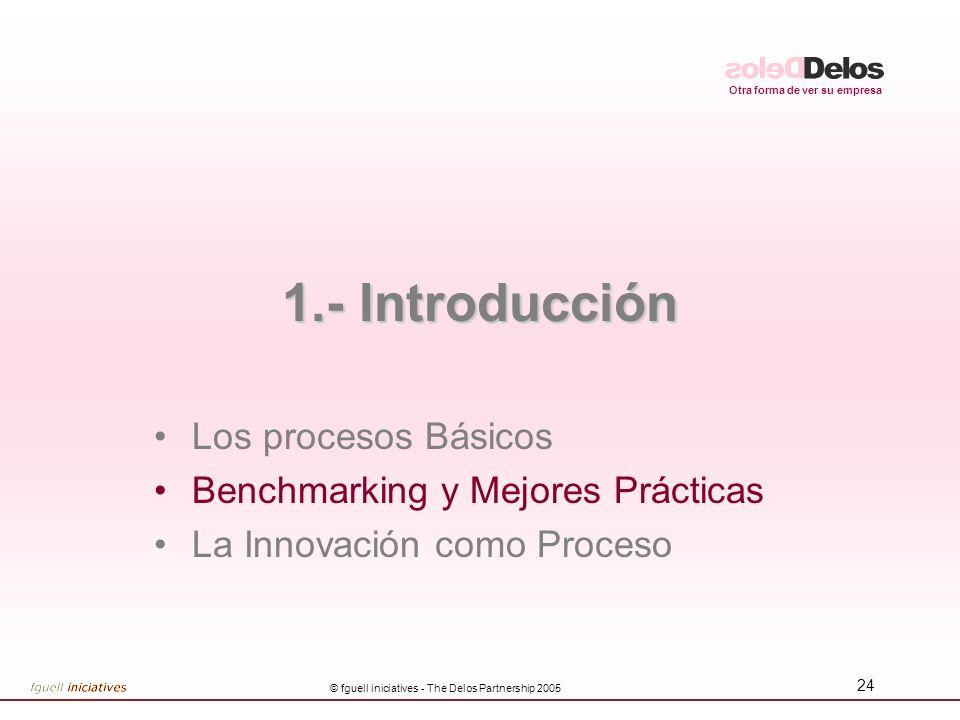 Otra forma de ver su empresa © fguell iniciatives - The Delos Partnership 2005 24 1.- Introducción Los procesos Básicos Benchmarking y Mejores Práctic
