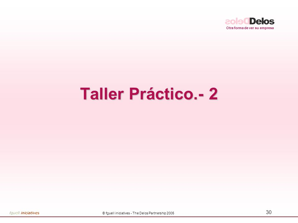 Otra forma de ver su empresa © fguell iniciatives - The Delos Partnership 2005 30 Taller Práctico.- 2