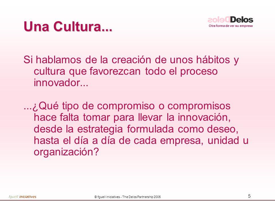 Otra forma de ver su empresa © fguell iniciatives - The Delos Partnership 2005 5 Una Cultura... Si hablamos de la creación de unos hábitos y cultura q