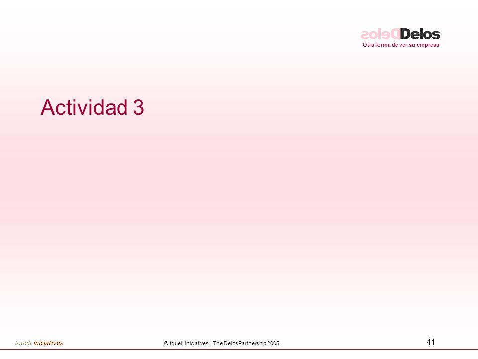 Otra forma de ver su empresa © fguell iniciatives - The Delos Partnership 2005 41 Actividad 3