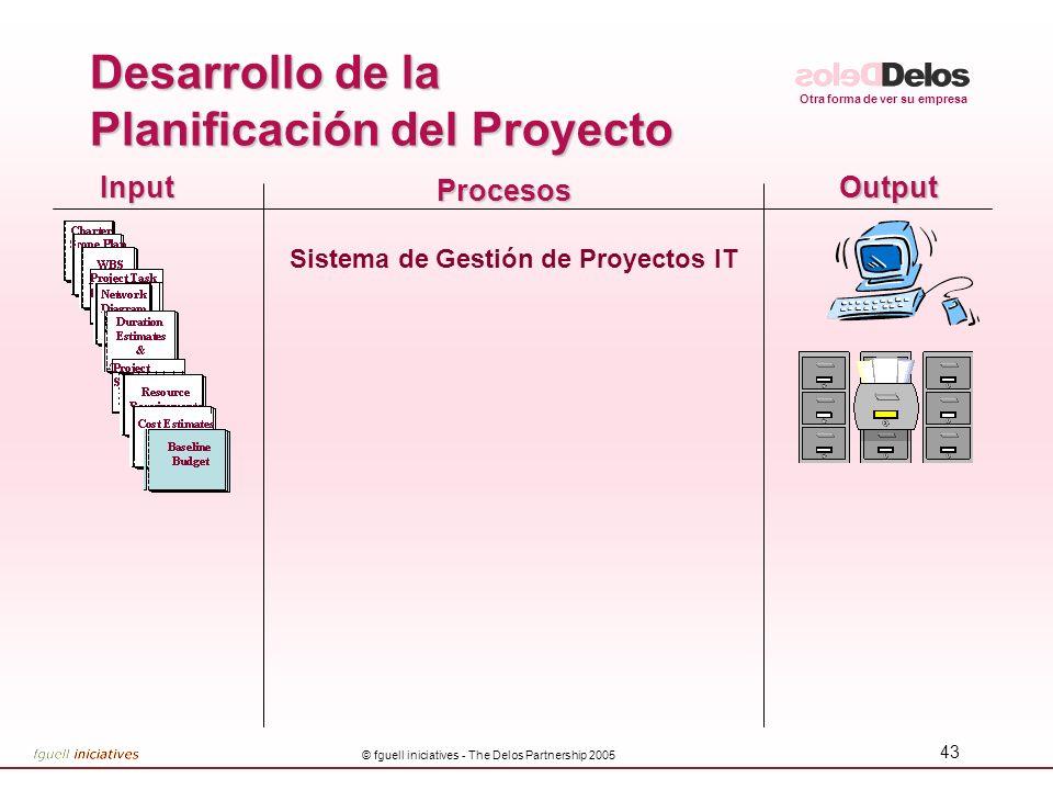 Otra forma de ver su empresa © fguell iniciatives - The Delos Partnership 2005 43 InputOutput Procesos Sistema de Gestión de Proyectos IT Desarrollo d