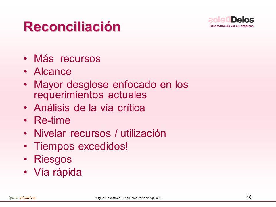 Otra forma de ver su empresa © fguell iniciatives - The Delos Partnership 2005 48 Reconciliación Más recursos Alcance Mayor desglose enfocado en los r