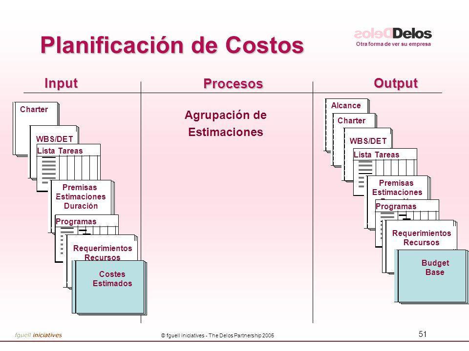Otra forma de ver su empresa © fguell iniciatives - The Delos Partnership 2005 51 InputOutput Procesos Agrupación de Estimaciones Alcance Planificació