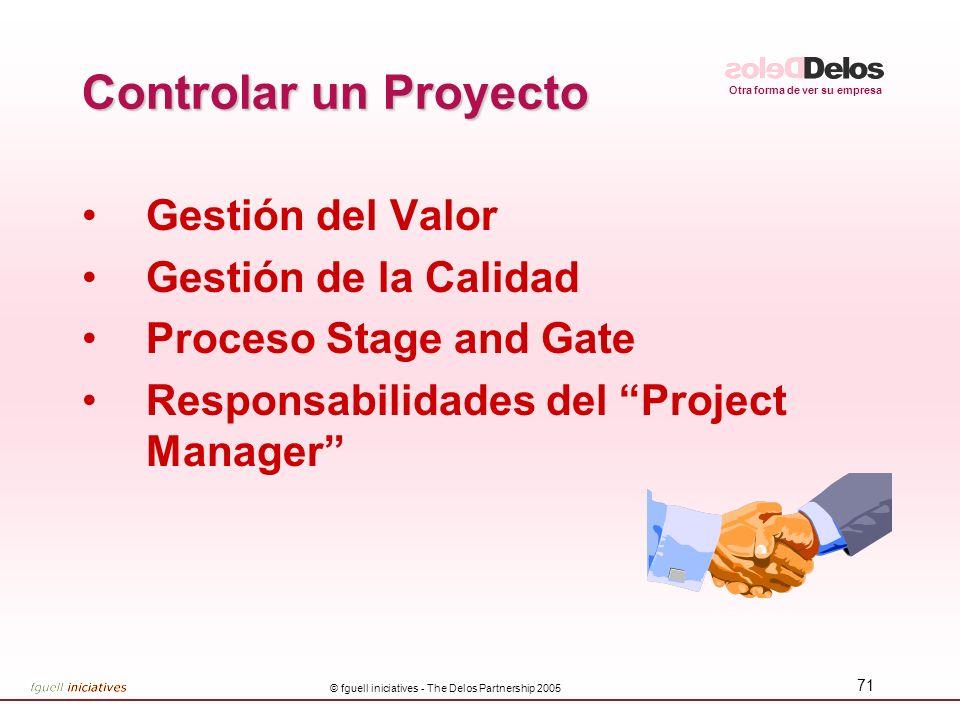 Otra forma de ver su empresa © fguell iniciatives - The Delos Partnership 2005 71 Controlar un Proyecto Gestión del Valor Gestión de la Calidad Proces