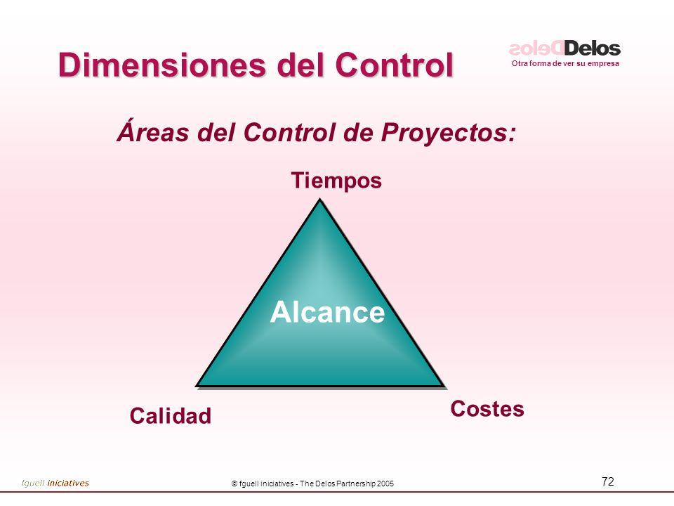 Otra forma de ver su empresa © fguell iniciatives - The Delos Partnership 2005 72 Áreas del Control de Proyectos: Tiempos Costes Calidad Dimensiones d