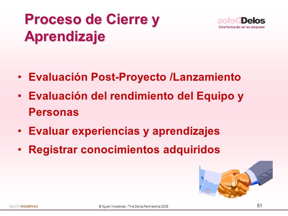 Otra forma de ver su empresa © fguell iniciatives - The Delos Partnership 2005 81 Proceso de Cierre y Aprendizaje Evaluación Post-Proyecto /Lanzamient