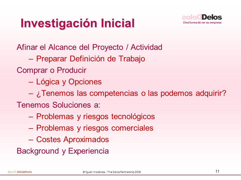 Otra forma de ver su empresa © fguell iniciatives - The Delos Partnership 2005 11 Investigación Inicial Afinar el Alcance del Proyecto / Actividad –Pr