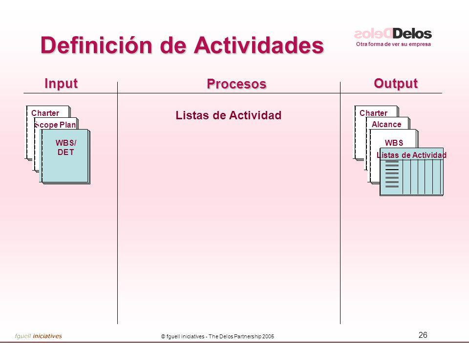 Otra forma de ver su empresa © fguell iniciatives - The Delos Partnership 2005 26 InputOutput Procesos Listas de Actividad CharterScope Plan WBS/ DET