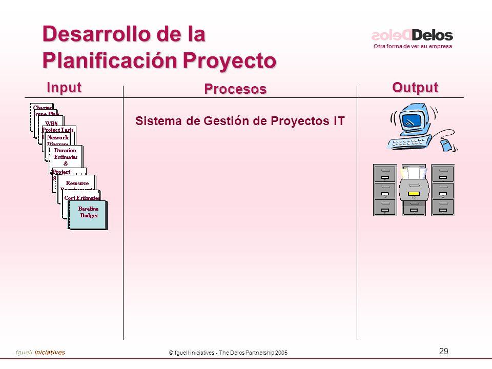 Otra forma de ver su empresa © fguell iniciatives - The Delos Partnership 2005 29 InputOutput Procesos Sistema de Gestión de Proyectos IT Desarrollo d