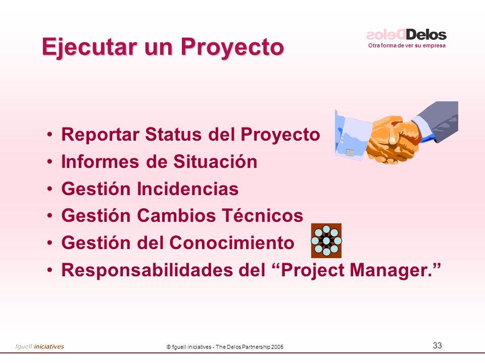 Otra forma de ver su empresa © fguell iniciatives - The Delos Partnership 2005 33 Ejecutar un Proyecto Reportar Status del Proyecto Informes de Situac