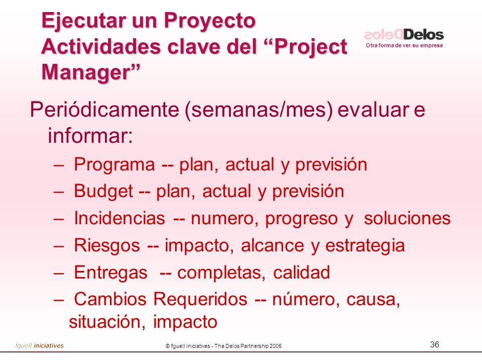 Otra forma de ver su empresa © fguell iniciatives - The Delos Partnership 2005 36 Periódicamente (semanas/mes) evaluar e informar: – Programa -- plan,