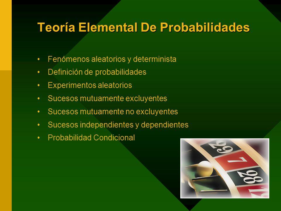 Teoría Elemental De Probabilidades Fenómenos aleatorios y determinista Definición de probabilidades Experimentos aleatorios Sucesos mutuamente excluye