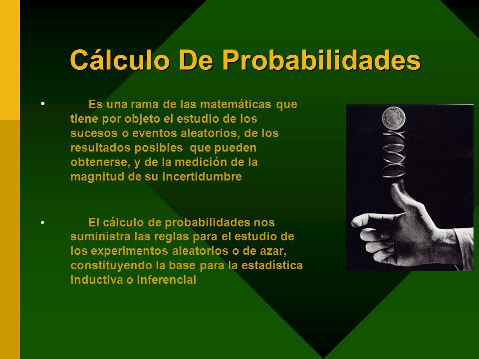 Cálculo De Probabilidades Es una rama de las matemáticas que tiene por objeto el estudio de los sucesos o eventos aleatorios, de los resultados posibl