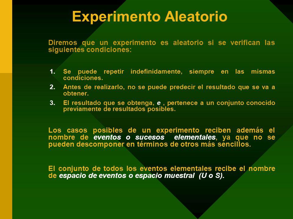 Experimento Aleatorio Diremos que un experimento es aleatorio si se verifican las siguientes condiciones: 1.Se puede repetir indefinidamente, siempre