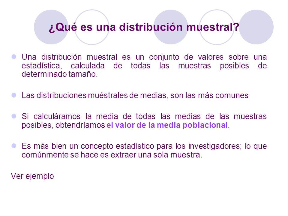 ¿Qué es una distribución muestral? Una distribución muestral es un conjunto de valores sobre una estadística, calculada de todas las muestras posibles