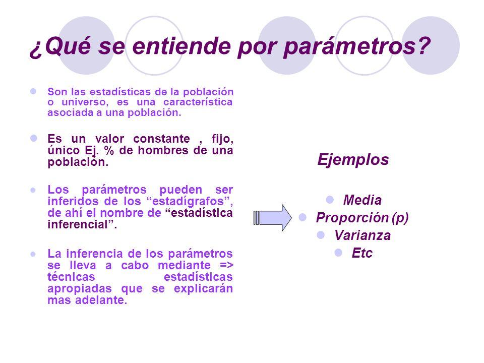 ¿Qué se entiende por parámetros? Son las estadísticas de la población o universo, es una característica asociada a una población. Es un valor constant