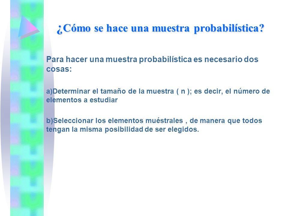 ¿ Cómo se hace una muestra probabilística? Para hacer una muestra probabilística es necesario dos cosas: a)Determinar el tamaño de la muestra ( n ); e