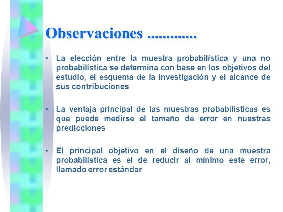 Observaciones............. La elección entre la muestra probabilística y una no probabilística se determina con base en los objetivos del estudio, el