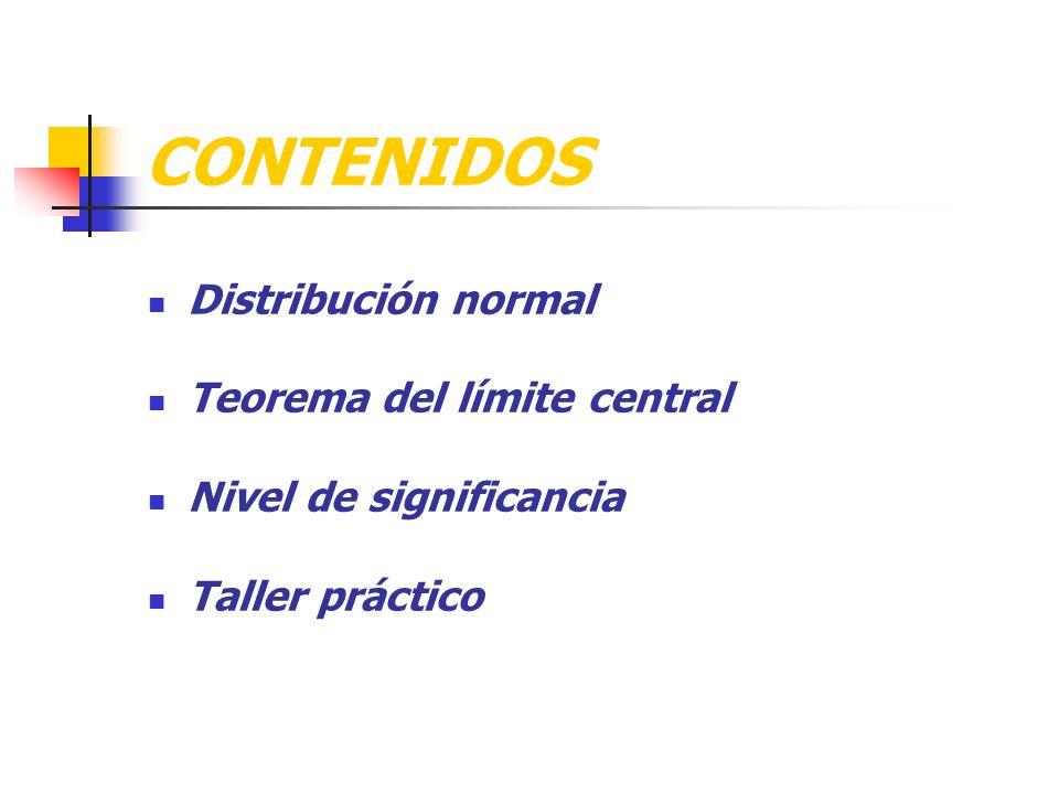 CONTENIDOS Distribución normal Teorema del límite central Nivel de significancia Taller práctico