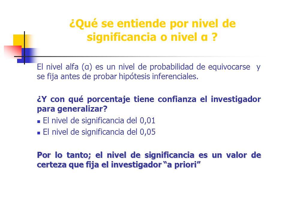 ¿Qué se entiende por nivel de significancia o nivel α .