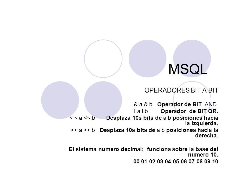 MSQL OPERADORES BIT A BIT & a & b Operador de BIT AND. I a l b Operador de BIT OR. < < a << b Desplaza 10s bits de a b posiciones hacia la izquierda.