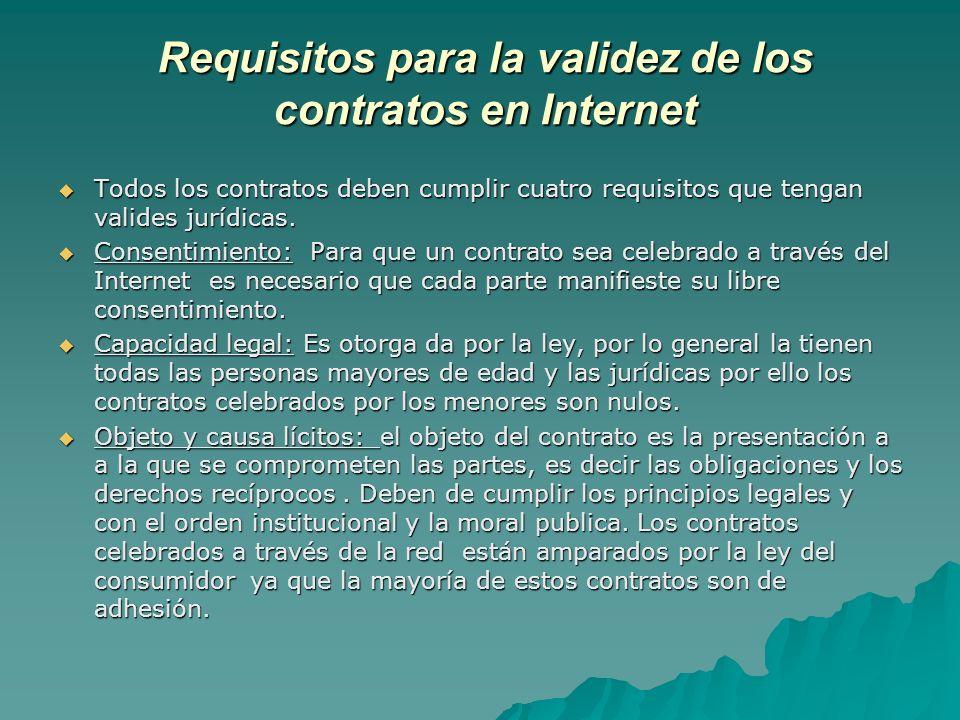 Requisitos para la validez de los contratos en Internet Todos los contratos deben cumplir cuatro requisitos que tengan valides jurídicas. Todos los co