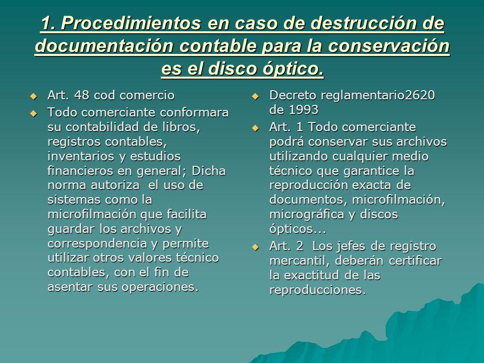 1. Procedimientos en caso de destrucción de documentación contable para la conservación es el disco óptico. Art. 48 cod comercio Art. 48 cod comercio