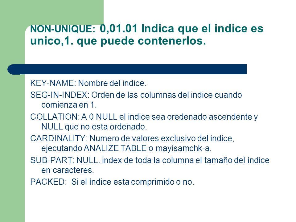 NON-UNIQUE: 0,01.01 Indica que el indice es unico,1.