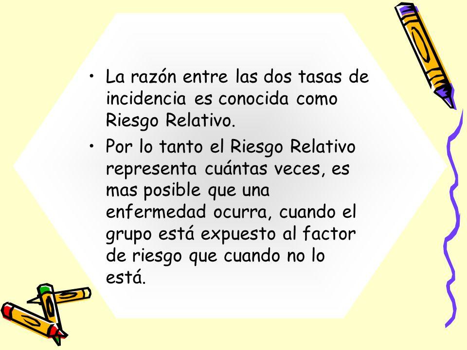 La razón entre las dos tasas de incidencia es conocida como Riesgo Relativo. Por lo tanto el Riesgo Relativo representa cuántas veces, es mas posible